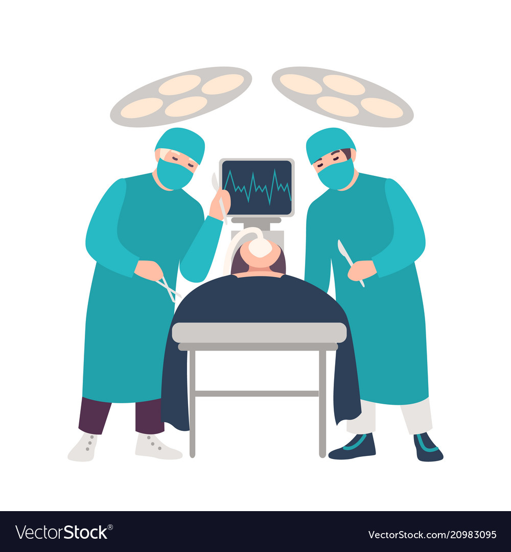 Two surgeons or physicians holding scalpels