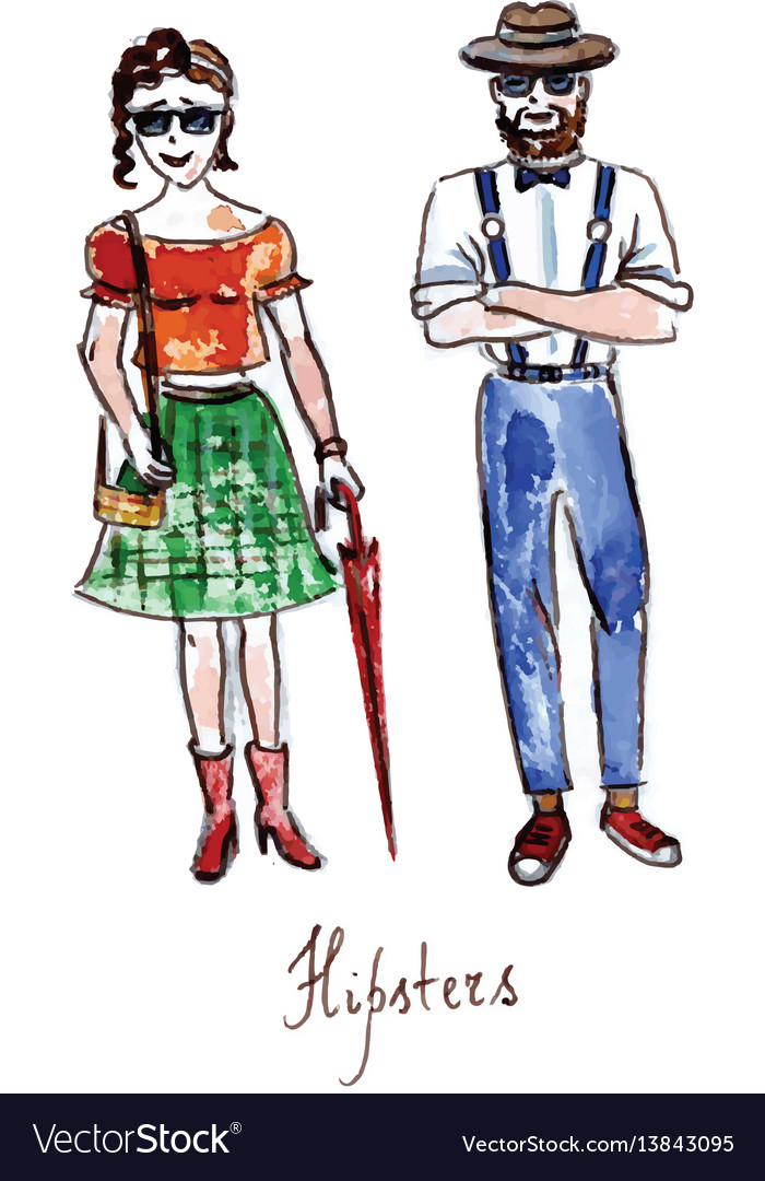 Watercolor hipsters girl and boy
