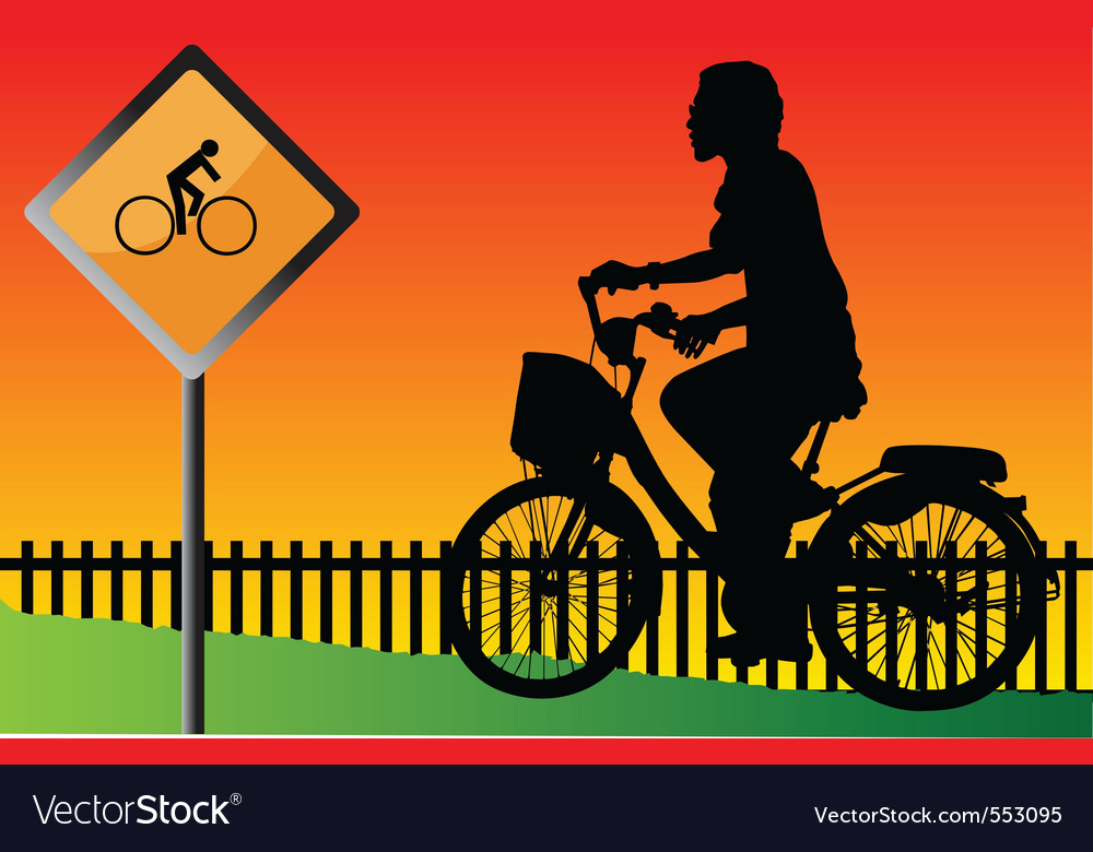 Young cyclists evening at the signs