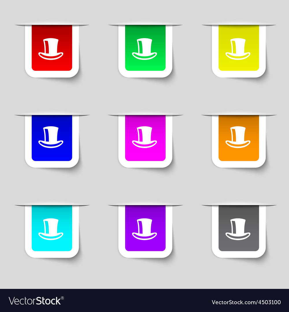 Cylinder hat icon sign Set of multicolored modern