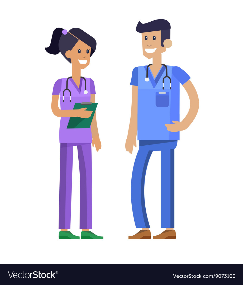 Doctor character man and woman set vector image