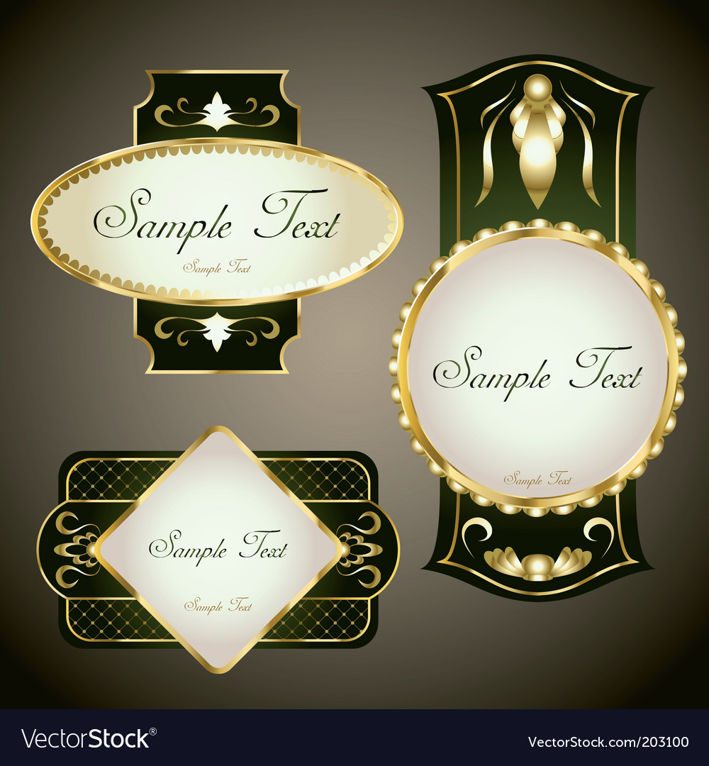Gold framed labels set