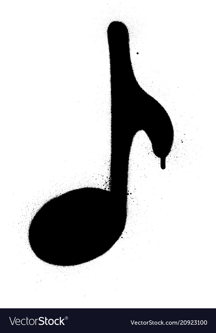 Graffiti musical note sprayed in black over white vector image