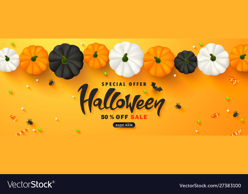 Halloween sale promotion poster with pumpkins