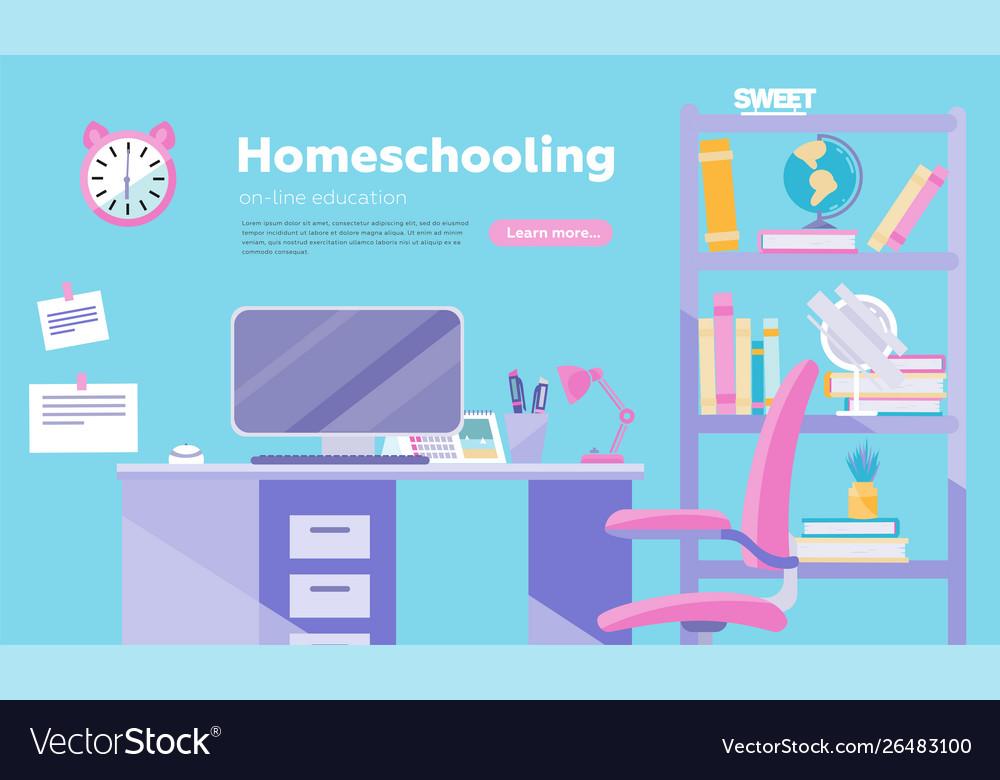Homeschooling inflat cartoon