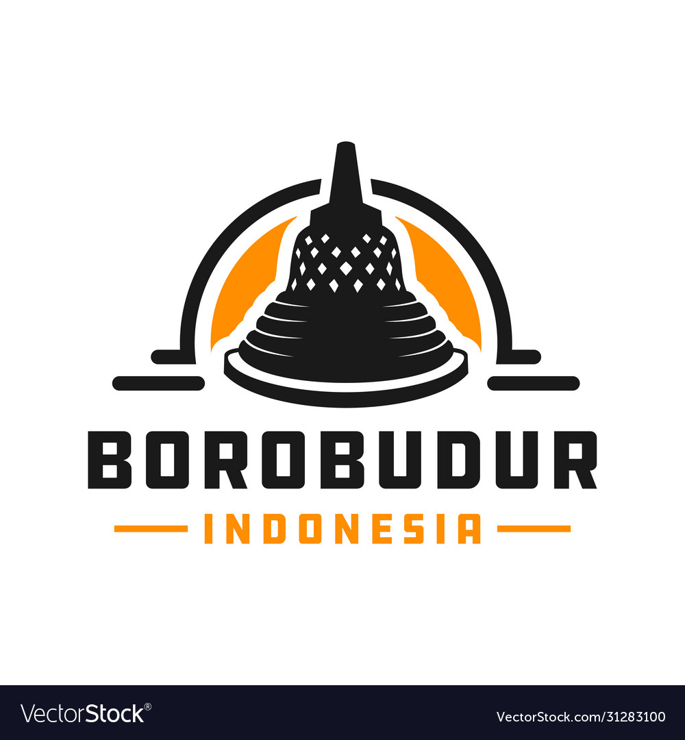 Indonesian borobudur temple logo