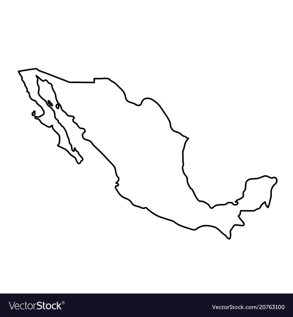 Mexico map of black contour curves of