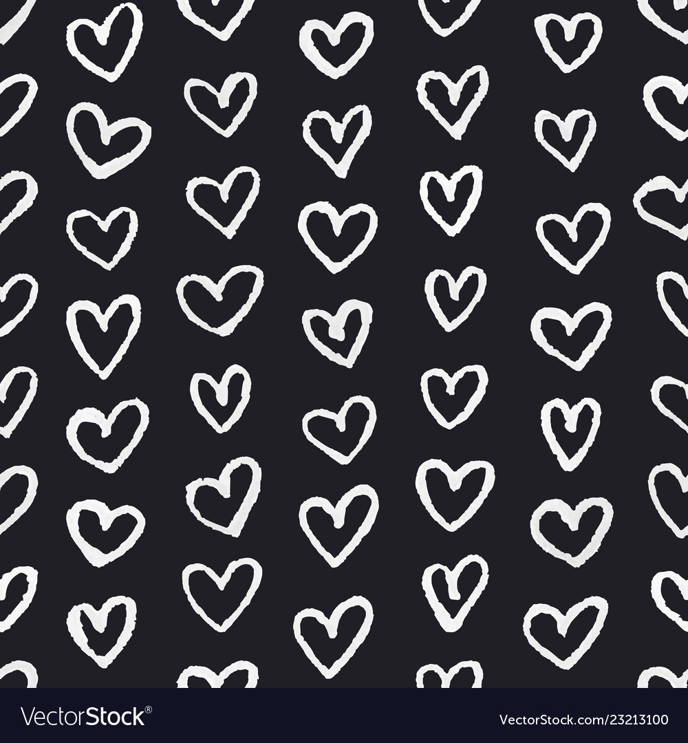 Seamless pattern with chalk drawing hearts