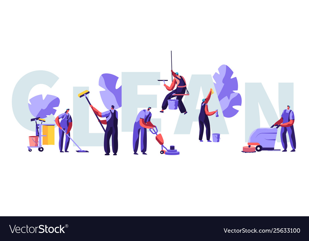 Service professional cleaners work concept