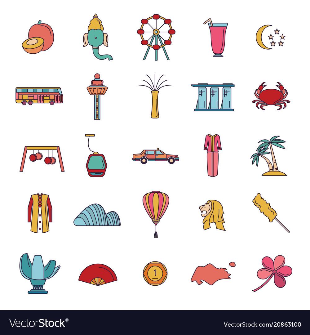 Singapore icons set cartoon style