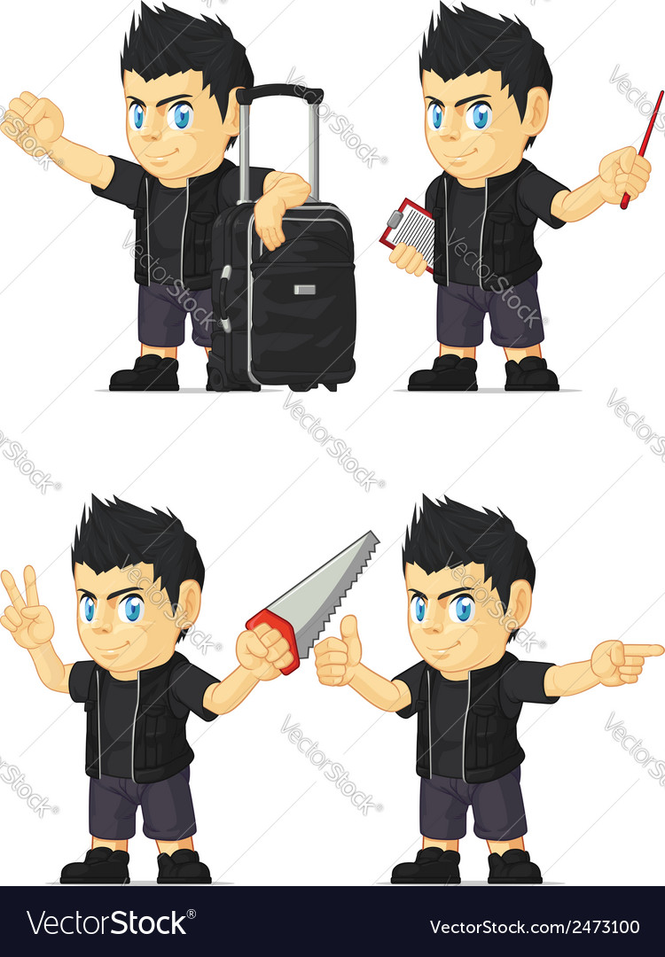 Spiky Rocker Boy Customizable Mascot 7