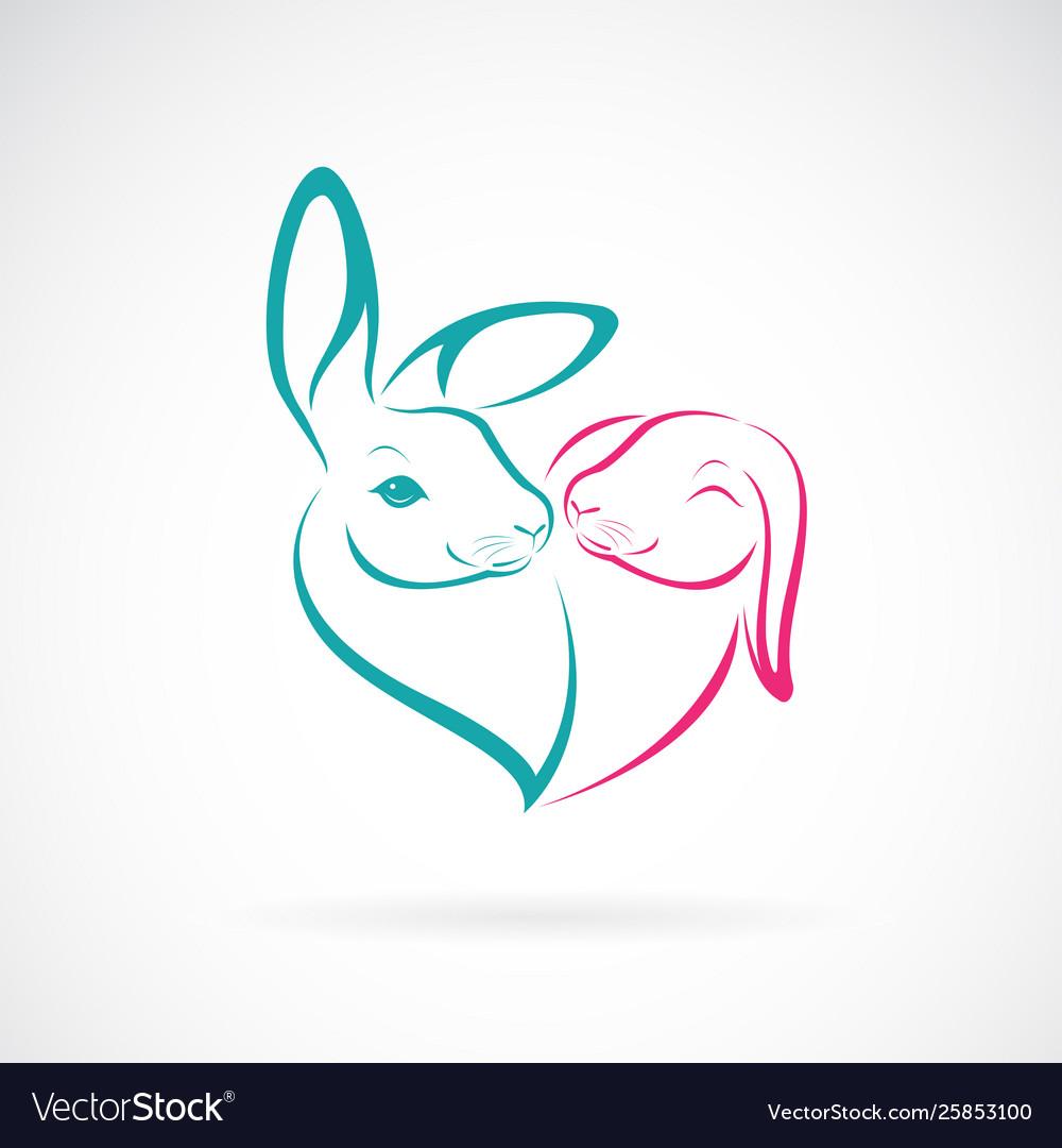 Two rabbit head design on white background wild