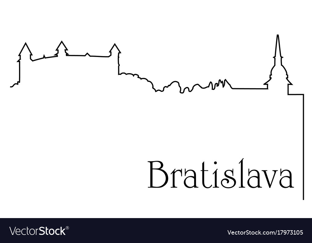 Bratislava city one line drawing background