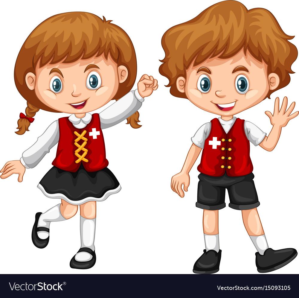 Children wearing clothes with switzerland flag