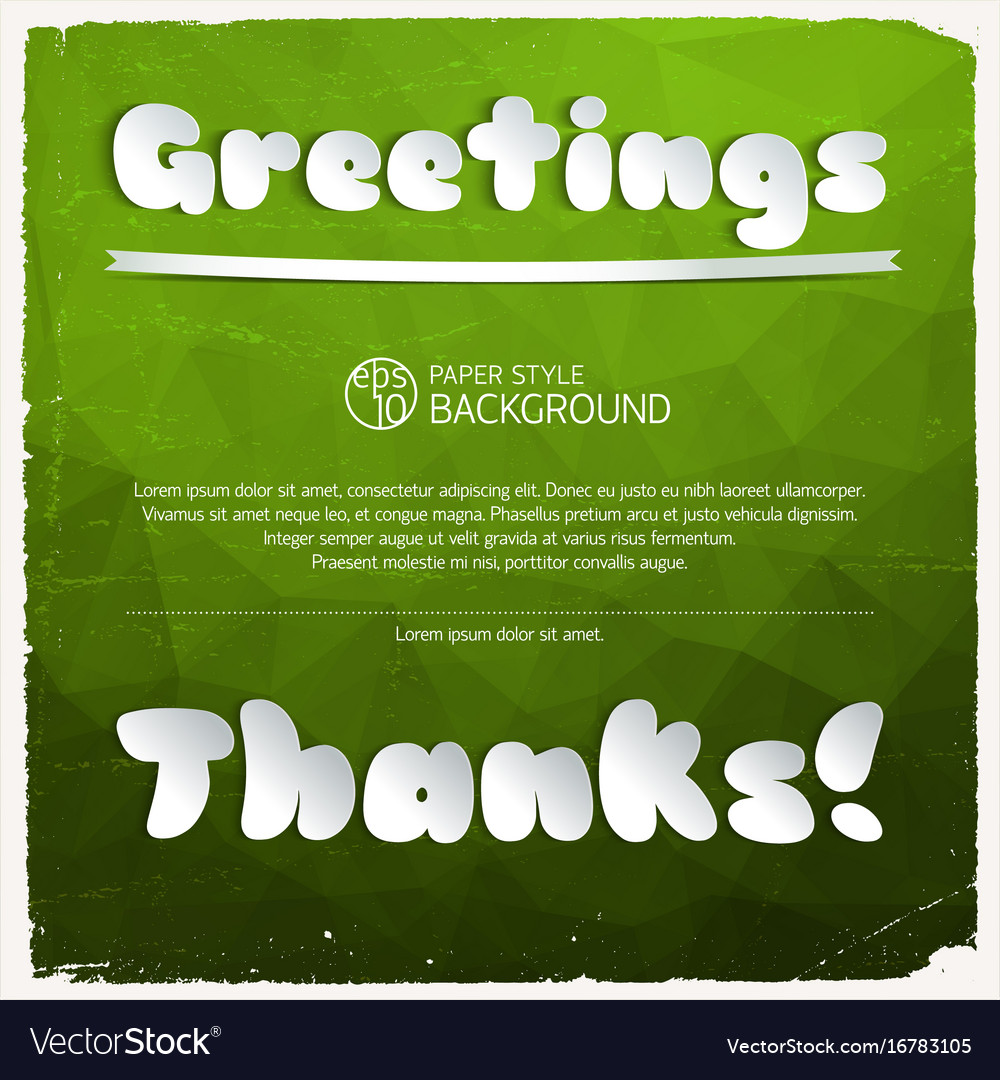 Greeting And Thanks Signature Royalty Free Vector Image