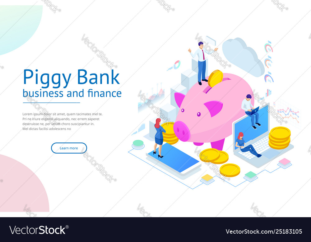 Isometric businessman putting a coin into a piggy