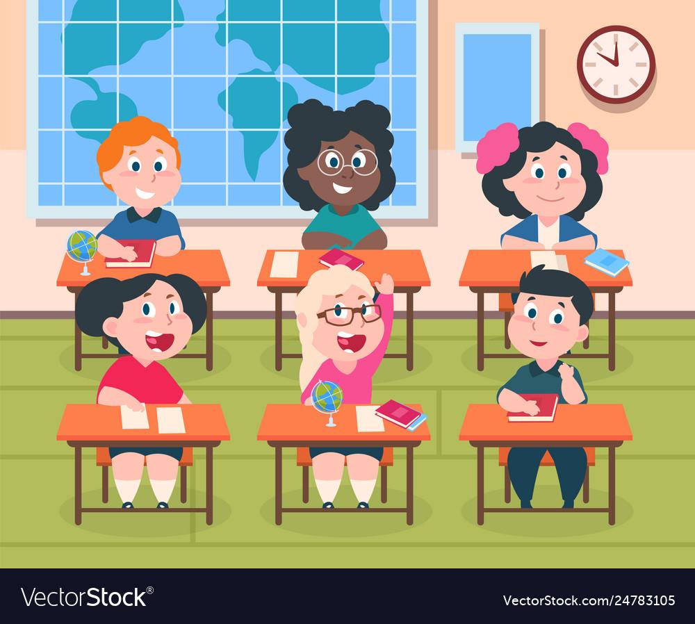 Kids in classroom cartoon children in school