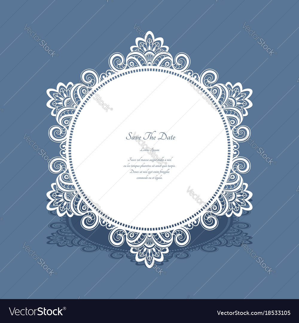 Round lace frame save the date card