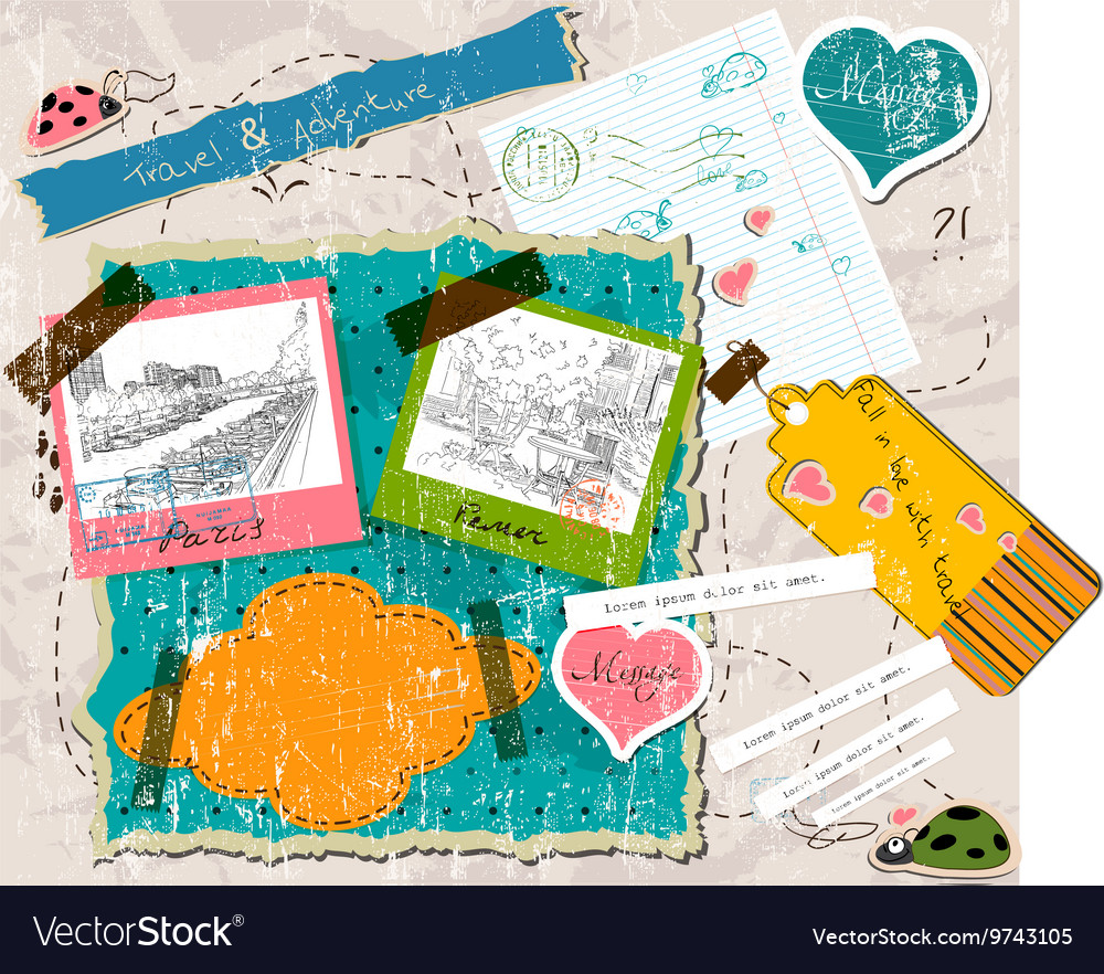 Scrapbooking set with stamps and photo frames