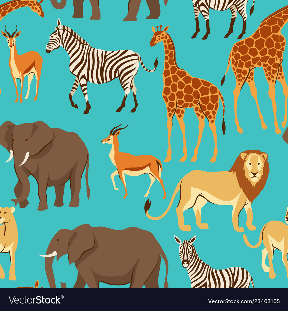 Seamless pattern with african savanna animals