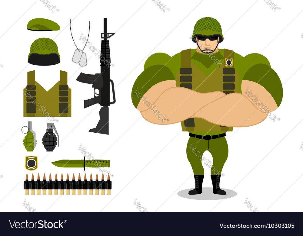 Soldiers and weapons Set of military ammunition vector image