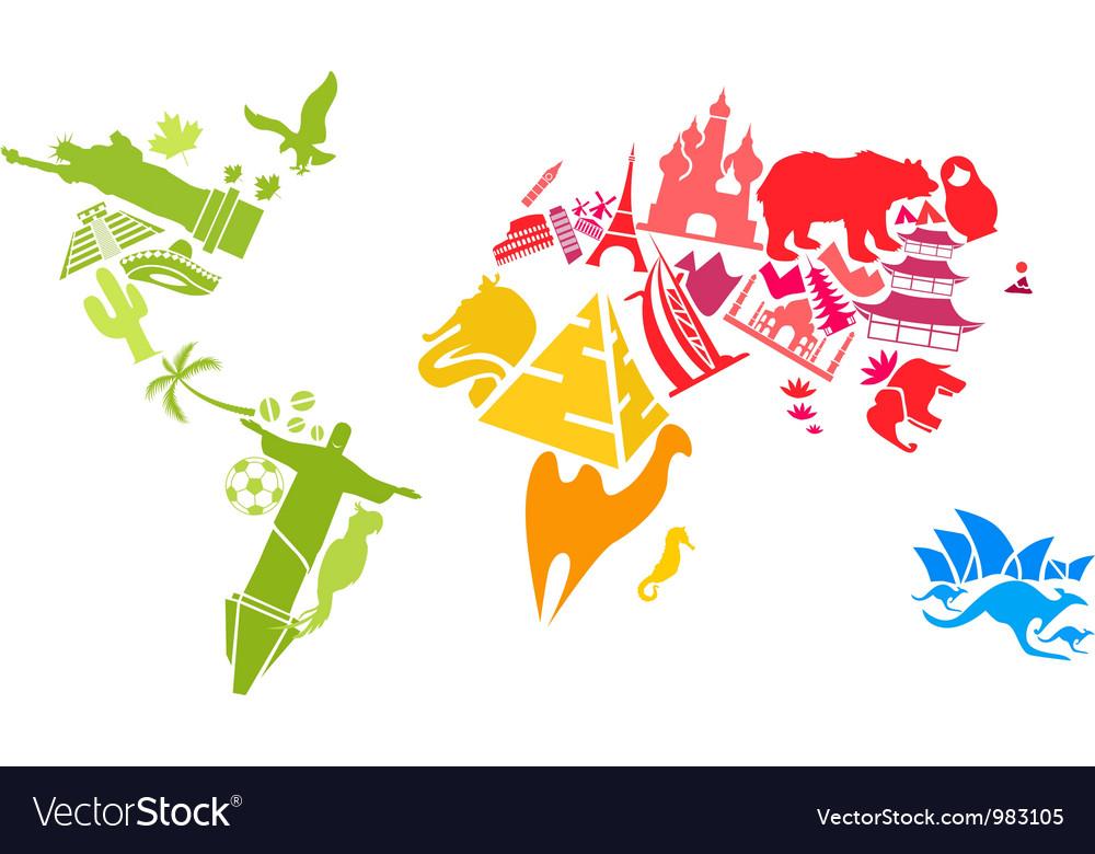 World map made landmarks