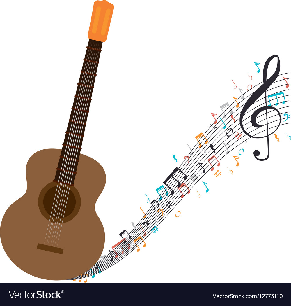 Acoustic Guitar With Musical Notes Royalty Free Vector Image