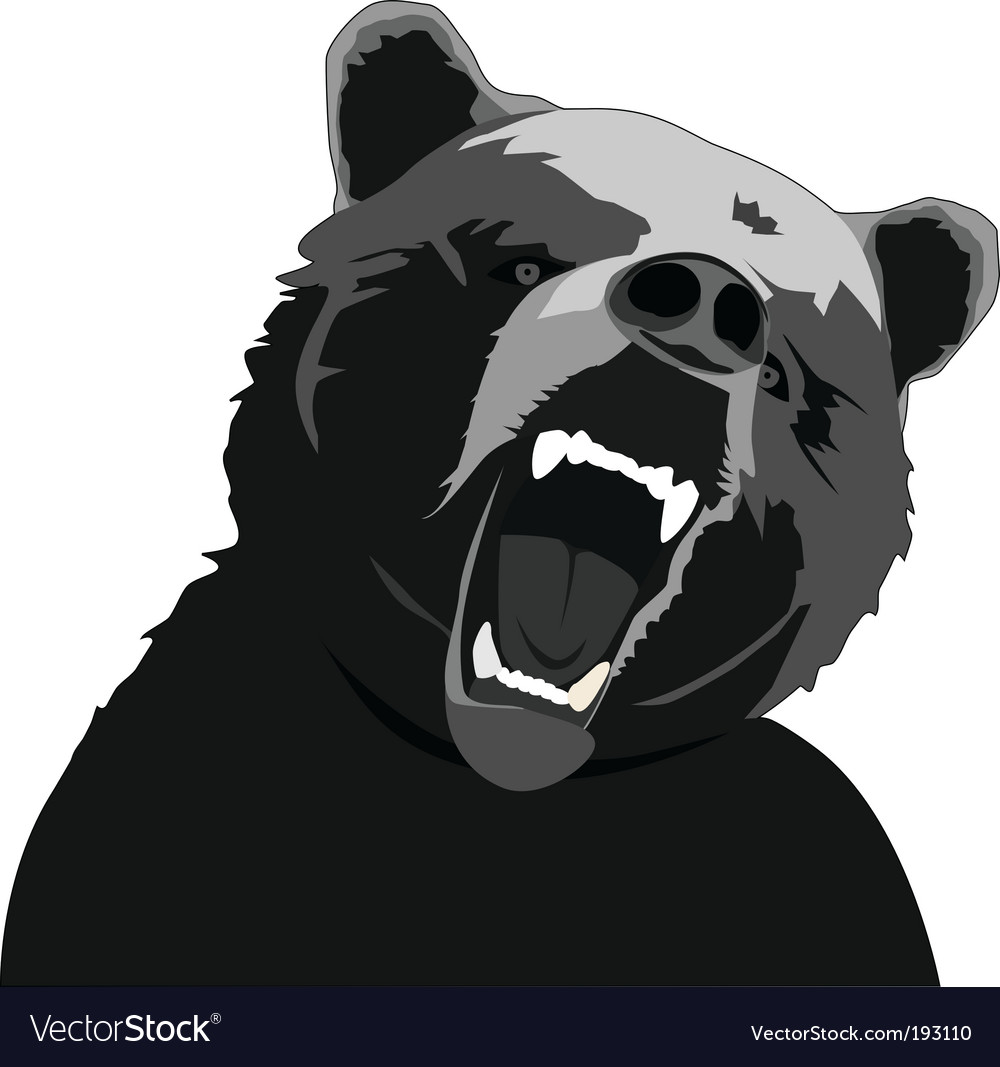 Angry bear stencil vector image