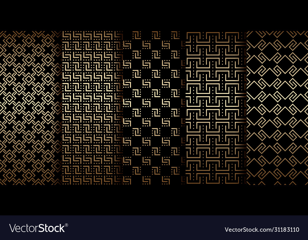 Art deco golden geometric seamless patterns