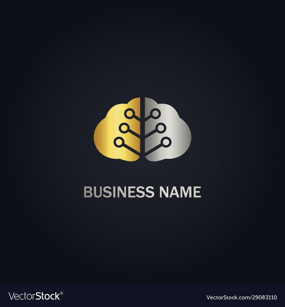 Brain technology gold logo