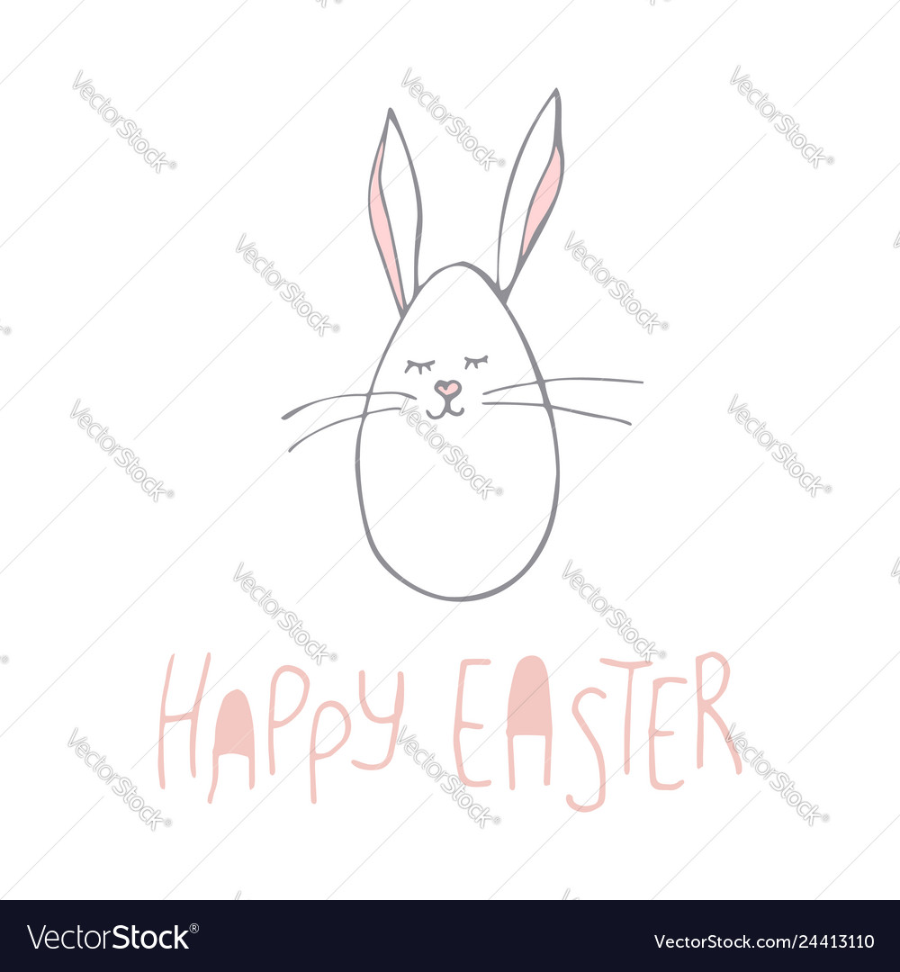 Cute hand-drawn bunny poster for kids