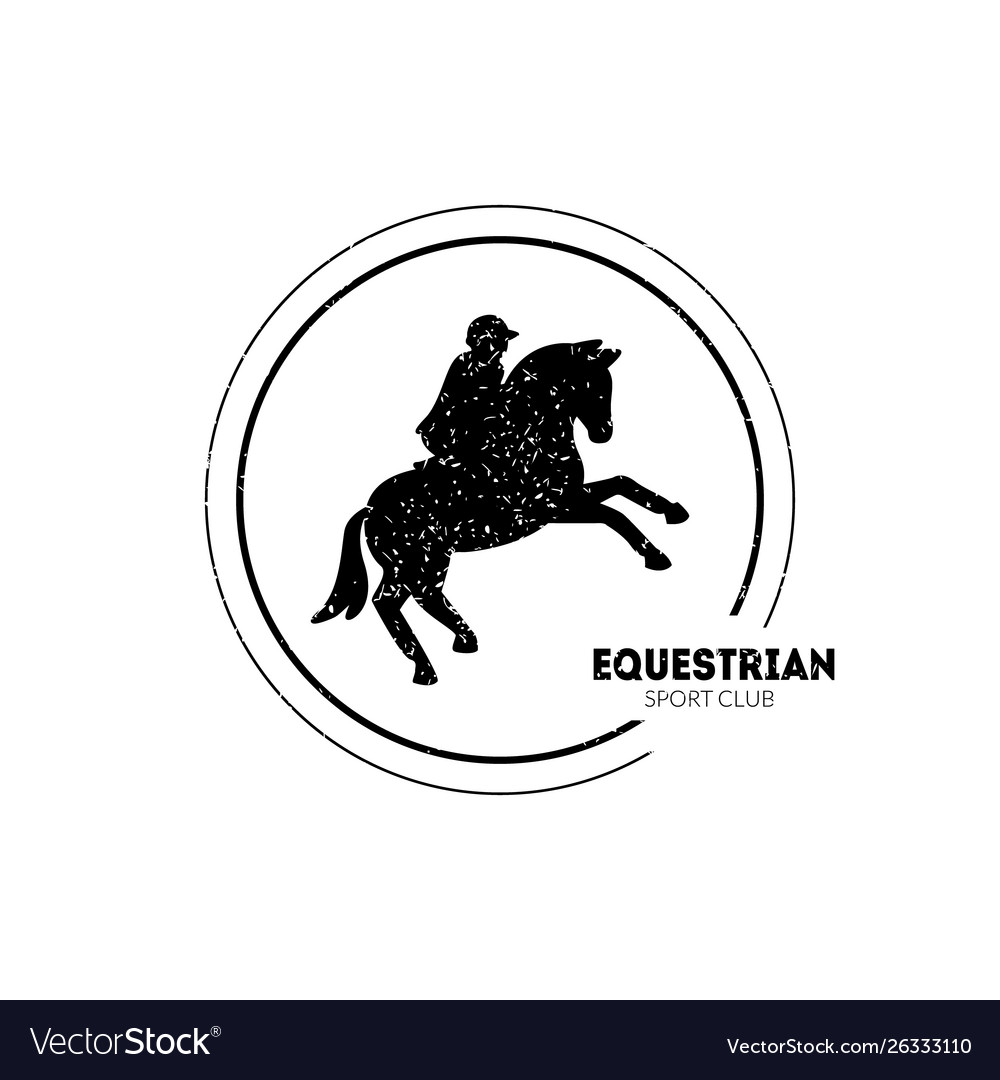 Equestrian sport club logo template with jumping