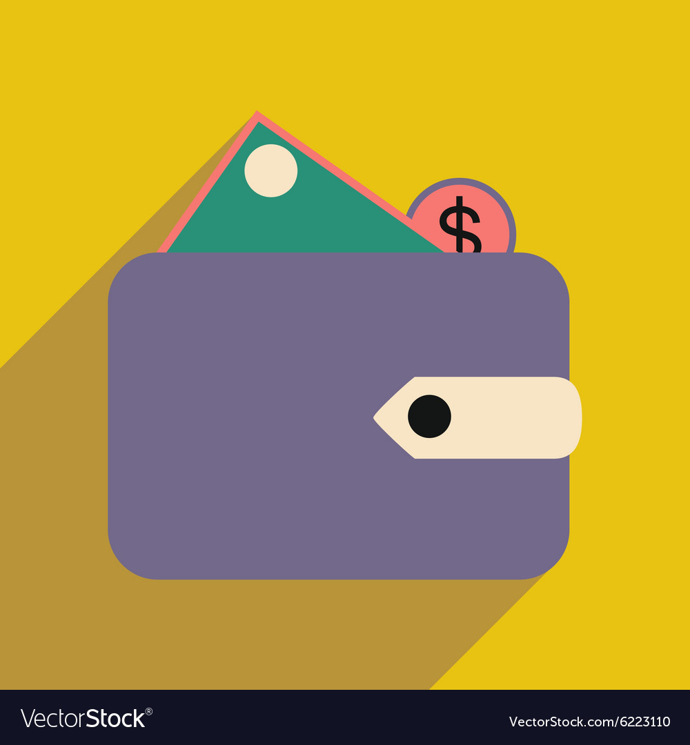 flat with shadow icon wallet money and coins vector image vectorstock