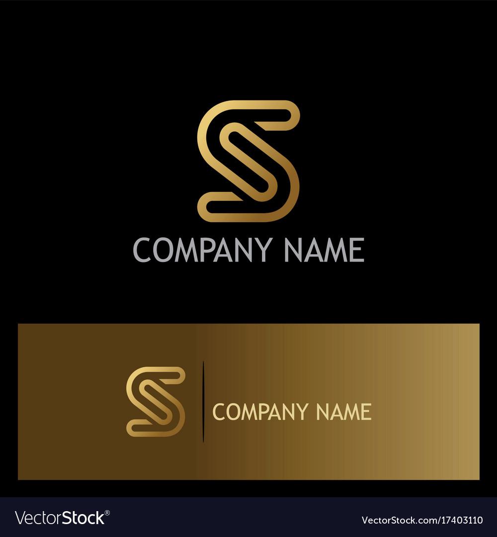 Gold letter s line logo