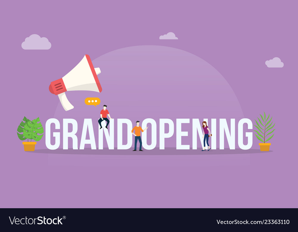 Grand opening business concept with megaphone and