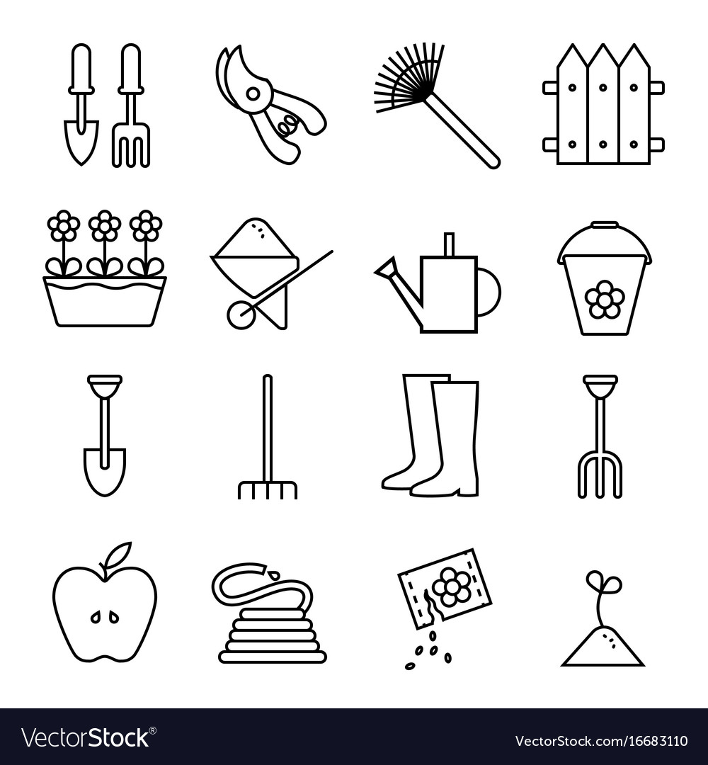 Set icons outline garden on