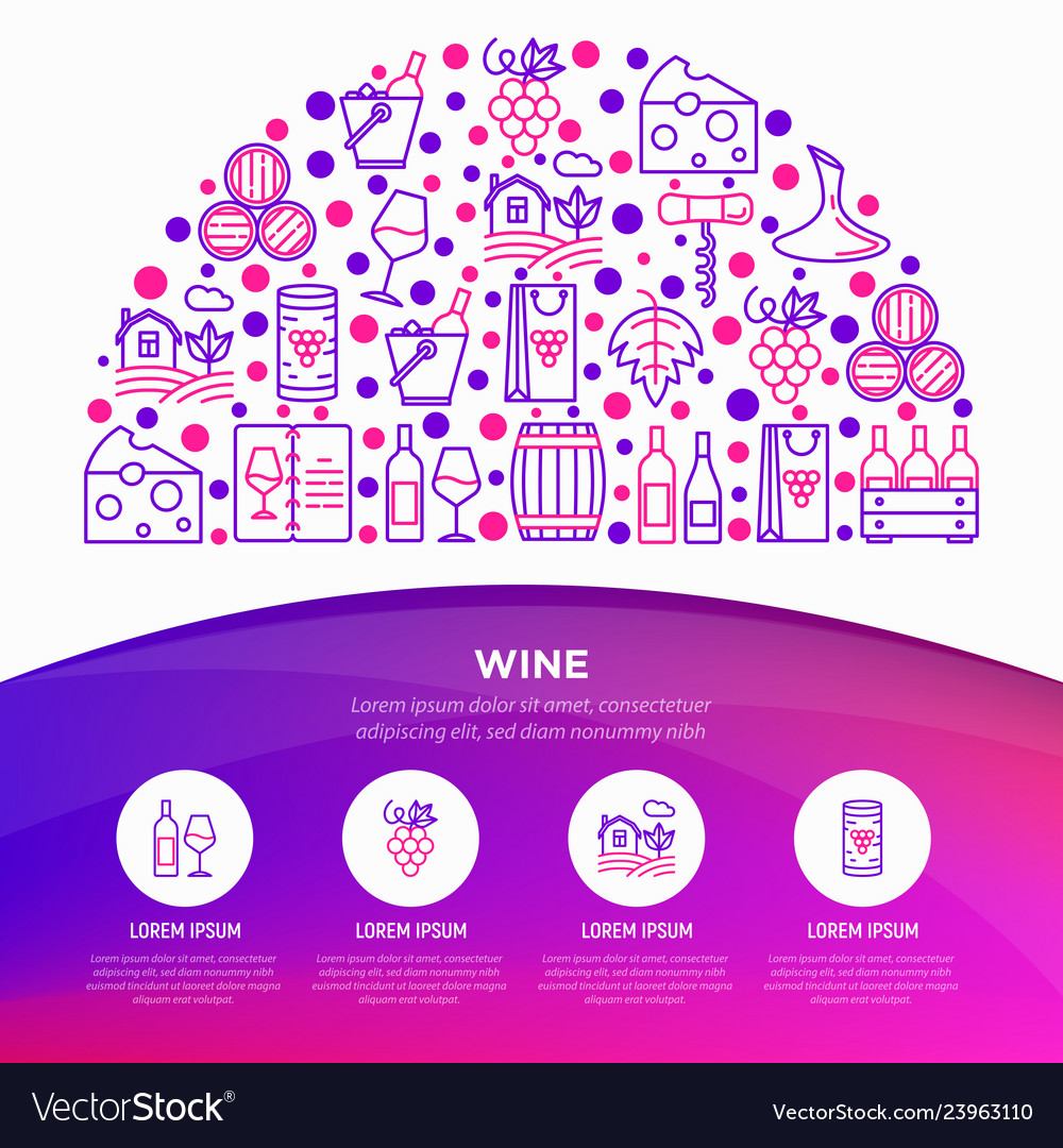 Wine concept in half circle with thin line icons