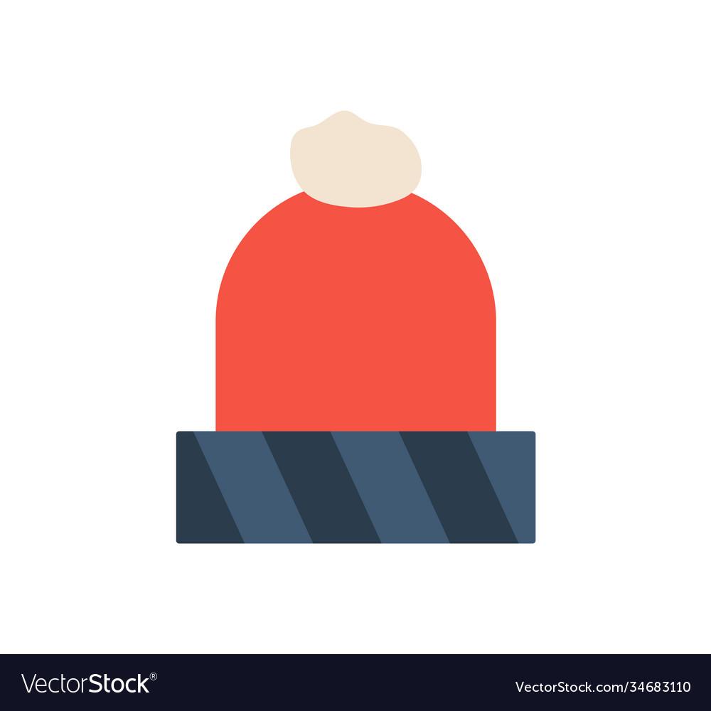 Winter red hat icon flat cartoon style warm