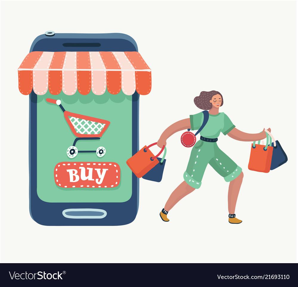 Woman doing online shopping bag