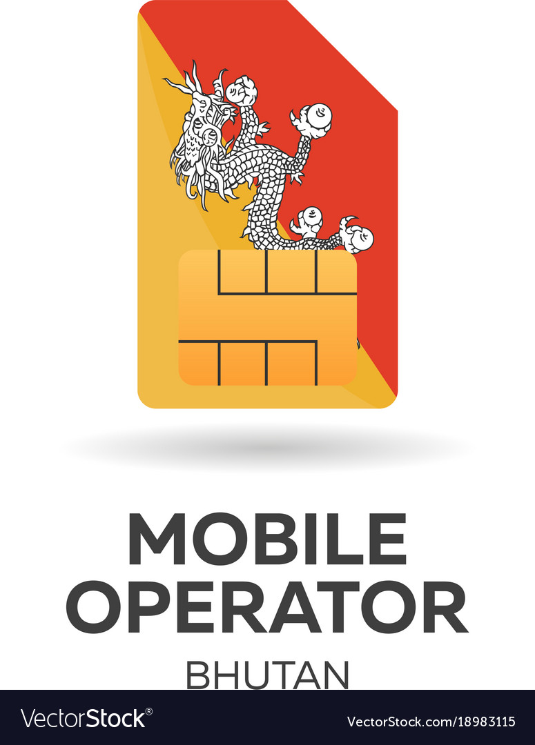 Bhutan mobile operator sim card with flag