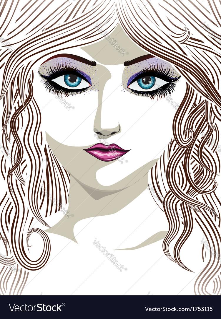 Brunette girl with blue eyes