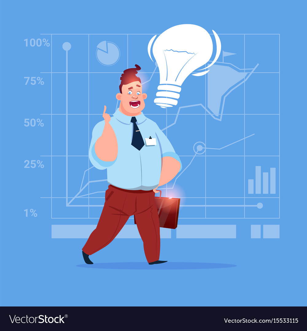 Business man new creative idea concept with light vector image