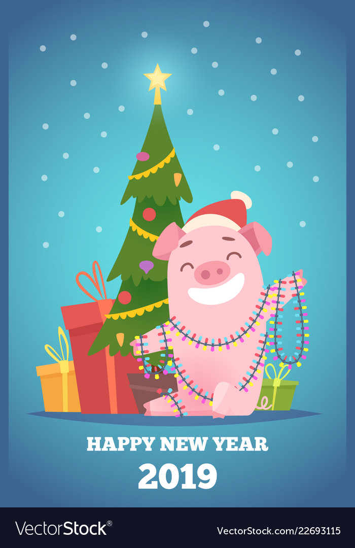 Cartoon pig new year background winter xmas
