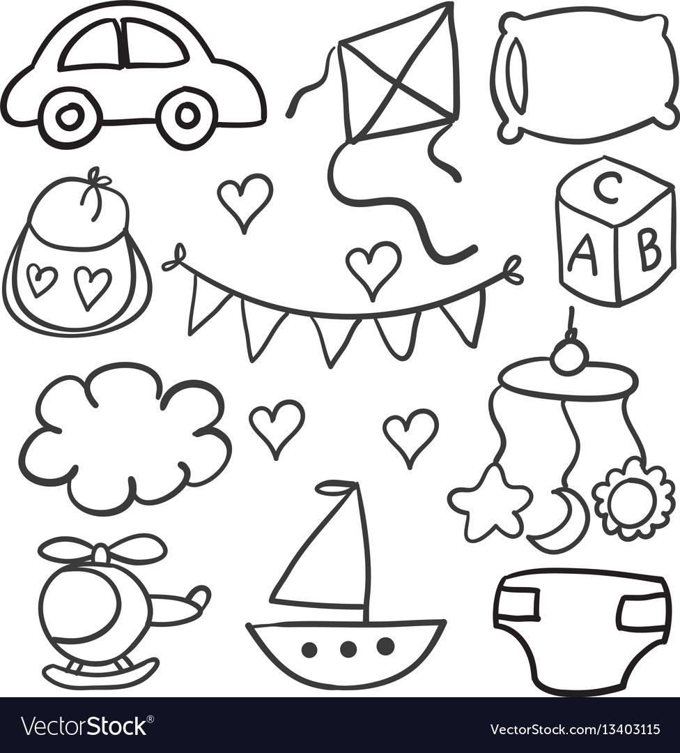 Collection of baby theme object doodles