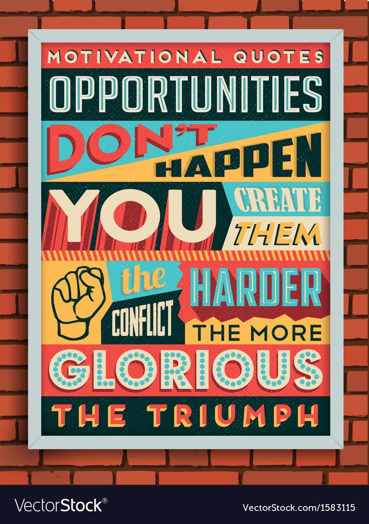 Colorful Retro Vintage Motivational Quote Poster
