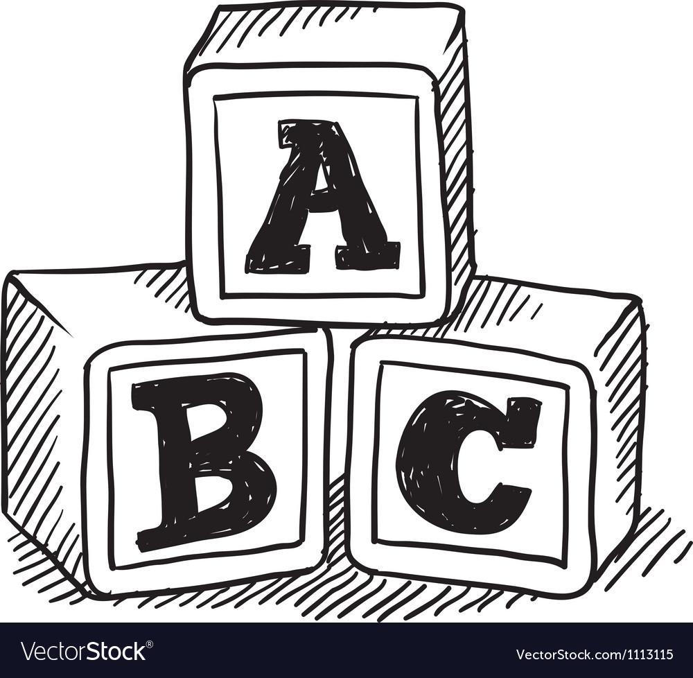 Doodle building blocks kid vector image