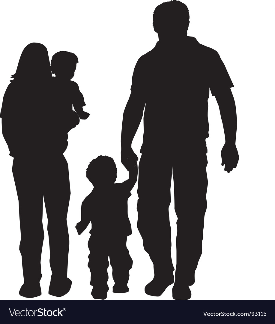 family silhouette royalty free vector image vectorstock rh vectorstock com silhouette vector graphics for download silhouette vector files free