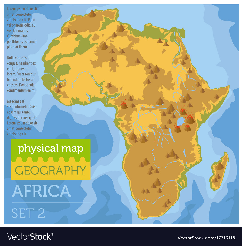 Flat africa physical map constructor elements on Vector Image