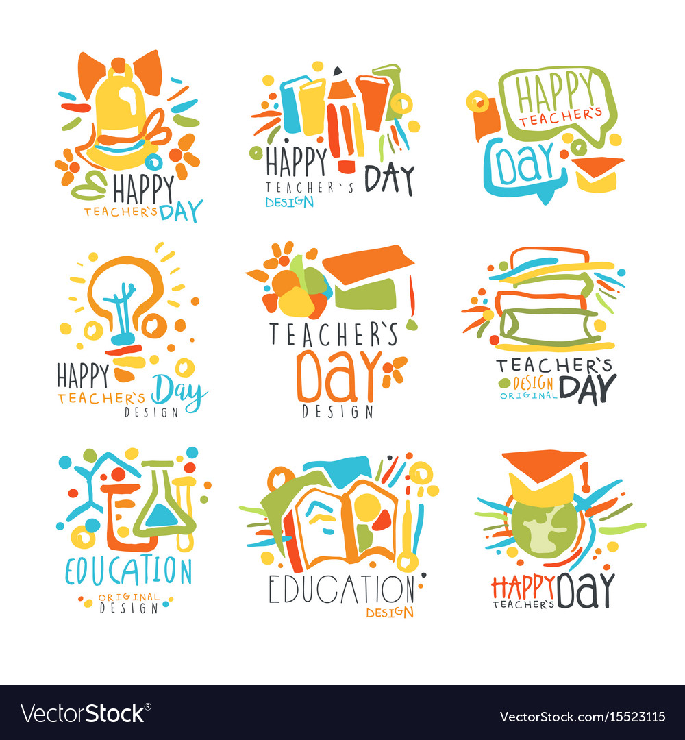 Happy teachers day labels set of logo graphic