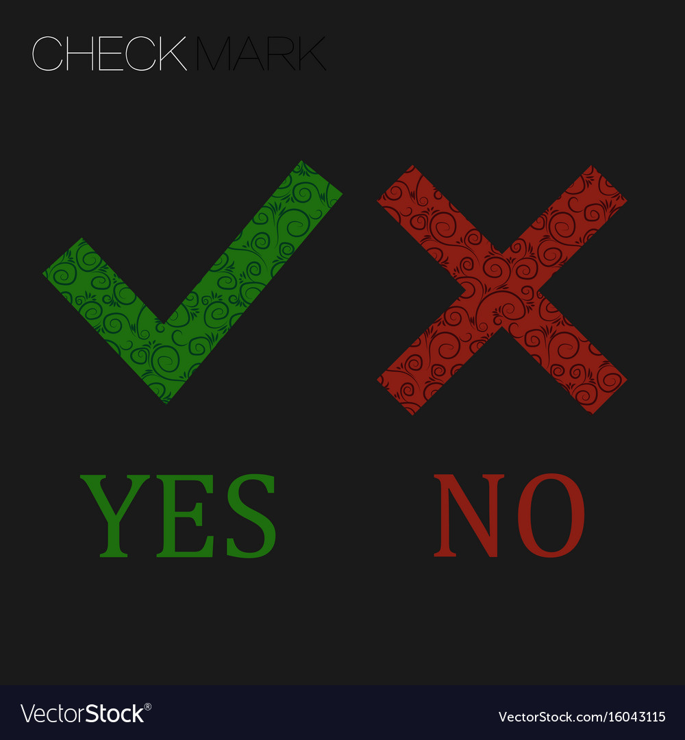 Icon yes and no green check mark and red wrong